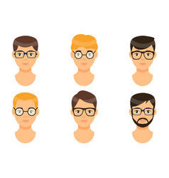 Set avatars young men icons vector