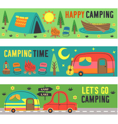 Set horizontal banners with summer camping vector