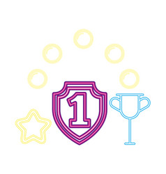 shield number one trophy neon video game vector image