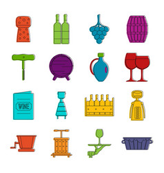 shopping cart icons doodle set vector image
