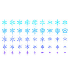 Snowflake simple color line icons set vector