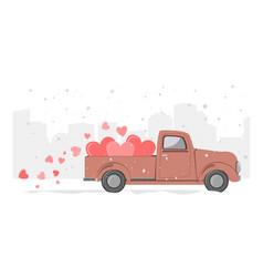 snowy winter day city background and retro pickup vector image