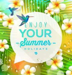 Speech bubble with summer greeting vector image