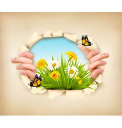 Spring background with hands ripping paper to show vector