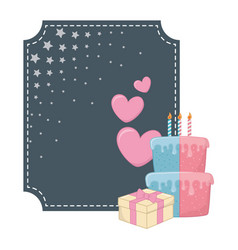 Square frame and birthday elements vector