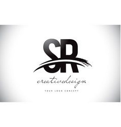 Sr s r letter logo design with swoosh and black vector