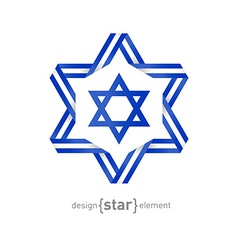 star with Israel flag colors and symbols vector image