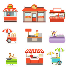 Street food kiosk set on wheels and without vector
