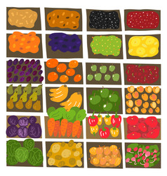 Street market pattern background fruits vector