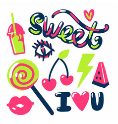 Sweet stickers candies fruits and text vector