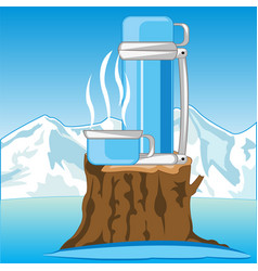 thermos with hot tea on nature in winter vector image