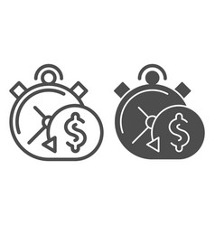 Timely payment line and glyph icon alarm clock vector