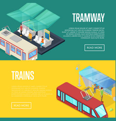 Tramway waiting station isometric 3d posters vector