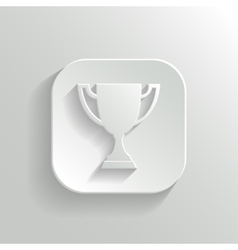 Trophy cup icon - white app button vector