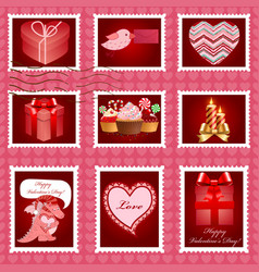 Valentine day postage set vector image