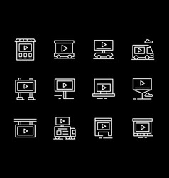 video ads objects white line icons set vector image