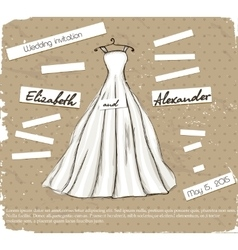 Vintage poster with beautiful wedding dress vector image vector image