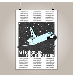 Vintage poster with high detail shuttle vector image
