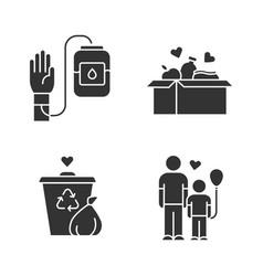 Volunteering glyph icons set altruistic activity vector