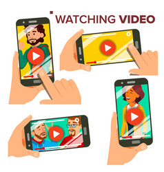 watching video on smartphone set mobile vector image