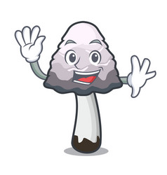 Waving shaggy mane mushroom character cartoon vector