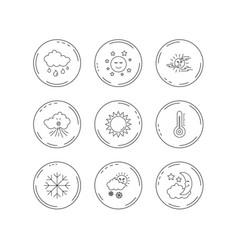 weather sun and rain icons moon night vector image