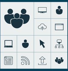 web icons set with upload desktop computer user vector image