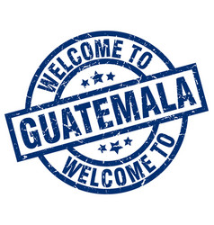 welcome to guatemala blue stamp vector image