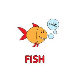 Cartoon fish flashcard for children vector