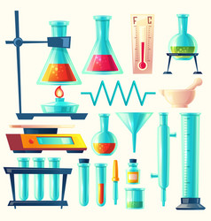 cartoon laboratory equipment glassware set vector image