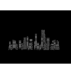 cities silhouette on black background vector image vector image