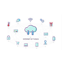 concept internet of things icon thin line flat vector image