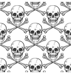 Seamless pattern with sketched skull vector image