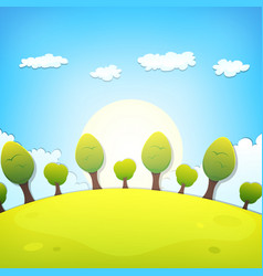 spring or summer cartoon landscape vector image vector image