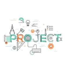Thin line design concept for project website vector image