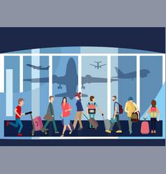 traveler people airport hall departure terminal vector image