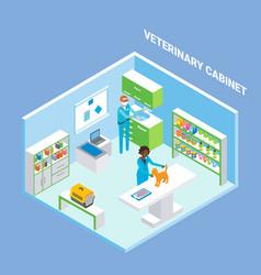 vet cabinet cutaway interior flat isometric vector image