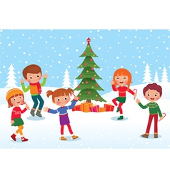 Children celebrate Christmas and New Year vector image