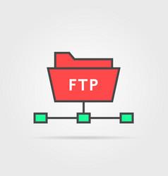 color ftp protocol simple icon vector image