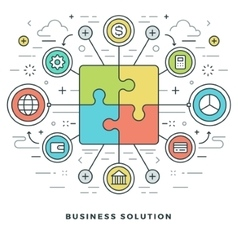 Flat line Business Solution Concept vector image vector image