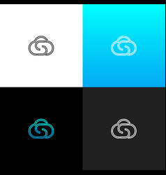 logo cloud with letter s linear logo cloud vector image
