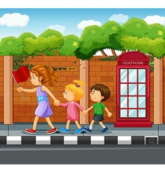 People walking on the pavement vector image vector image