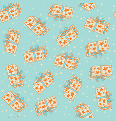 seamless pattern with gift boxes in the stars vector image
