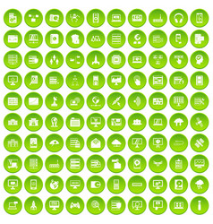 100 database and cloud icons set green circle vector image vector image