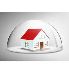 house under a glass dome vector image vector image