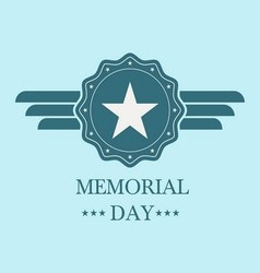 memorial day blue label vector image