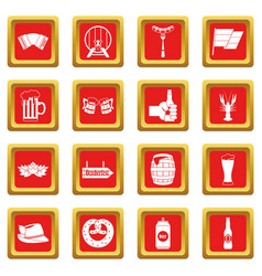 oktoberfest icons set red vector image vector image
