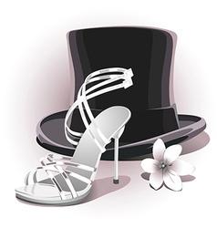 romantic white wedding shoe vector image vector image