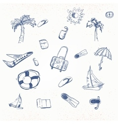 summer travel doodle with boat plain vector image vector image