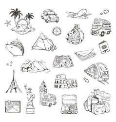 Travel sketches of icons set vector image vector image